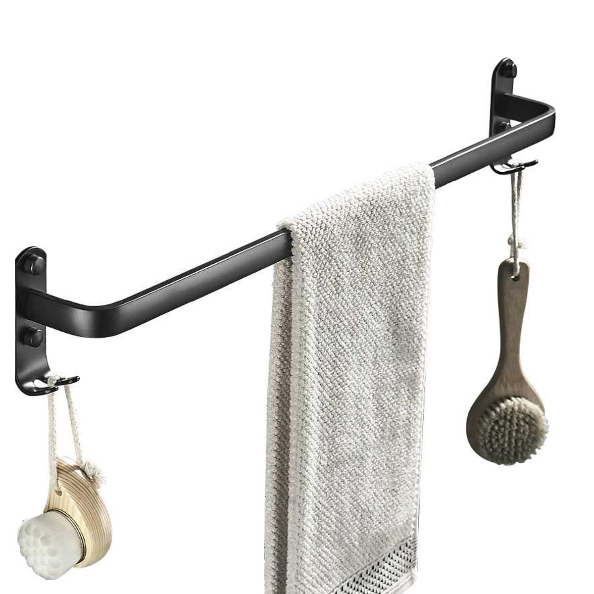 23 aluminum black hanging towel rack 1 2 tier wall mount fixed double towel bar storage holder with 2pcs hooks wall shelf bathroom accessories