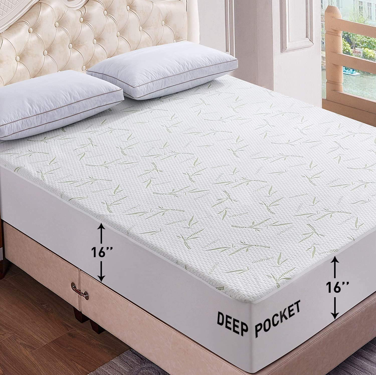 bamboo mattress protector king size breathable waterproof mattress cover hypoallergenic fitted cover with cooling fabric pillow top mattress pad
