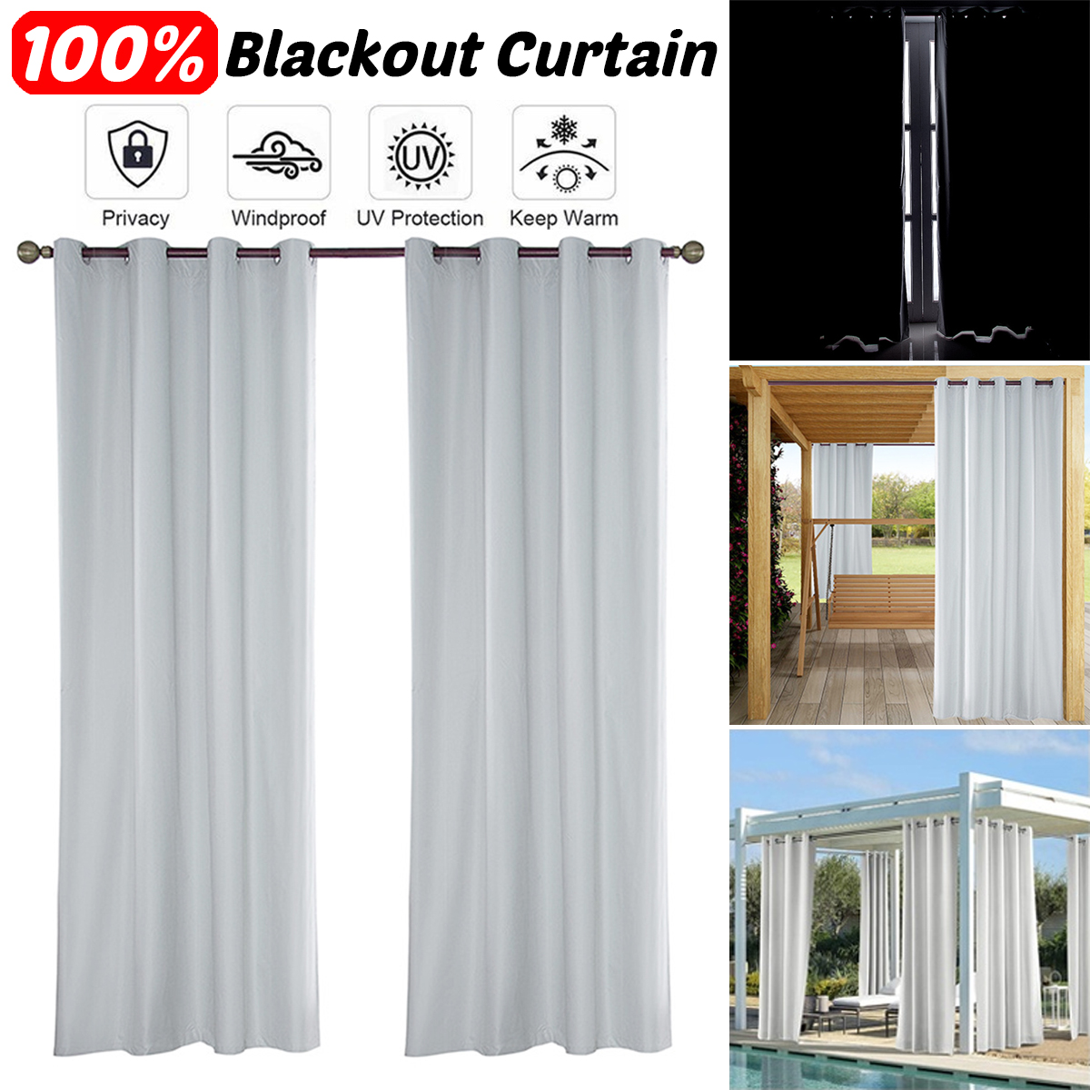 100 anti uv outdoor curtains for patio waterproof 1 or 2 pack grommet top blackout window curtain panel drapes white