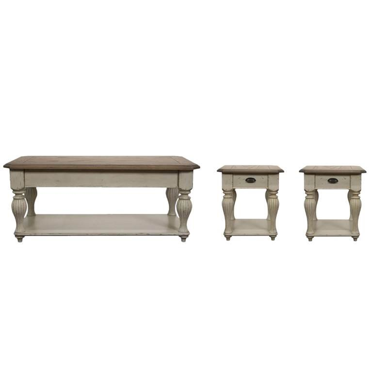 home square 3 piece french country coffee table set in dover white walmart com
