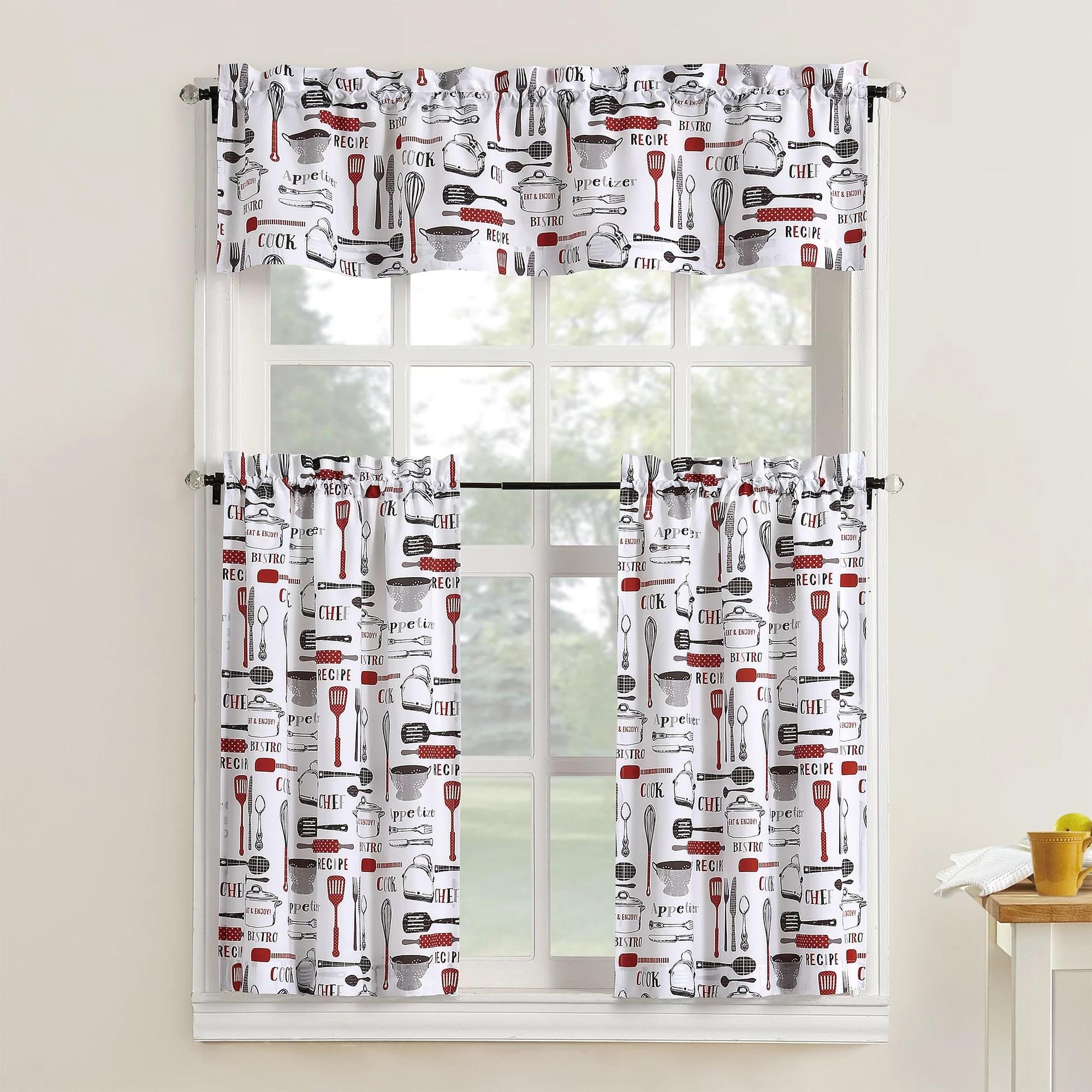 mainstays bistro 3 piece kitchen curtain tier and valance set
