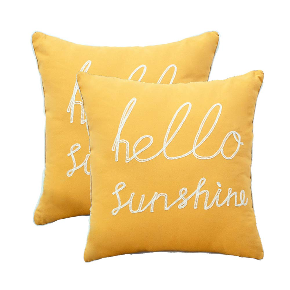 wendana set of 2 soft soild decorative square throw pillow covers yellow hello sunshine pillow for sofa bedroom car 18x18 inch