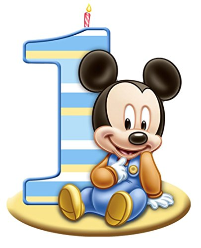 Baby Mickey Mouse 1st Birthday Candle Edible Cake Topper Image Abpid51271 1 4 Sheet Walmart Com Walmart Com