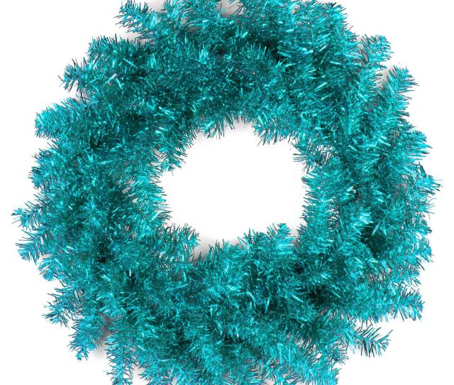 National Tree  Turquoise Tinsel Wreath