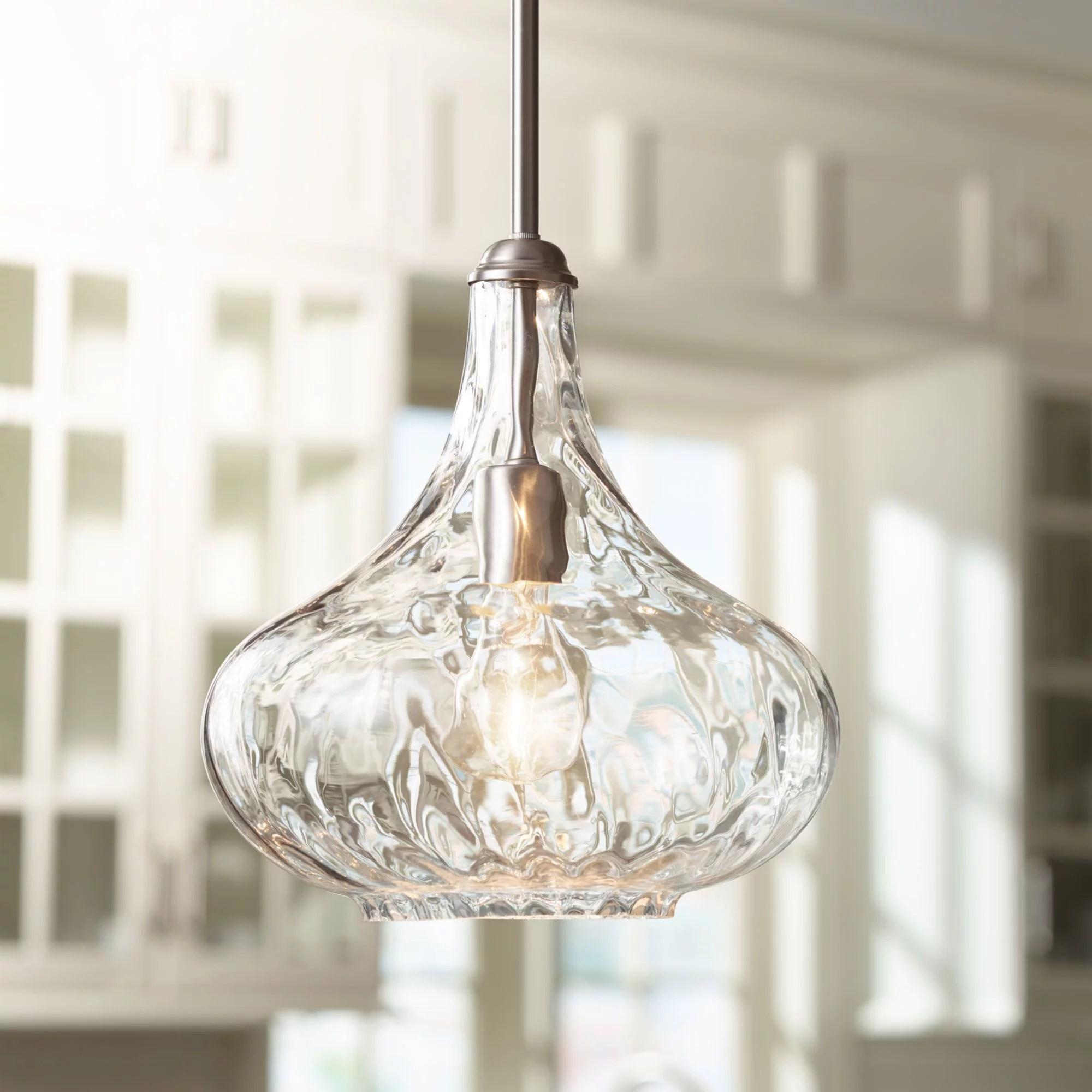 360 lighting brushed nickel mini pendant light 11 wide modern handmade textured glass fixture for kitchen island dining room walmart com