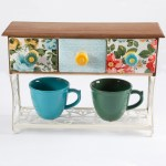 The Pioneer Woman Flea Market Mug Rack With 2 Mugs 3 Piece Walmart Com Walmart Com