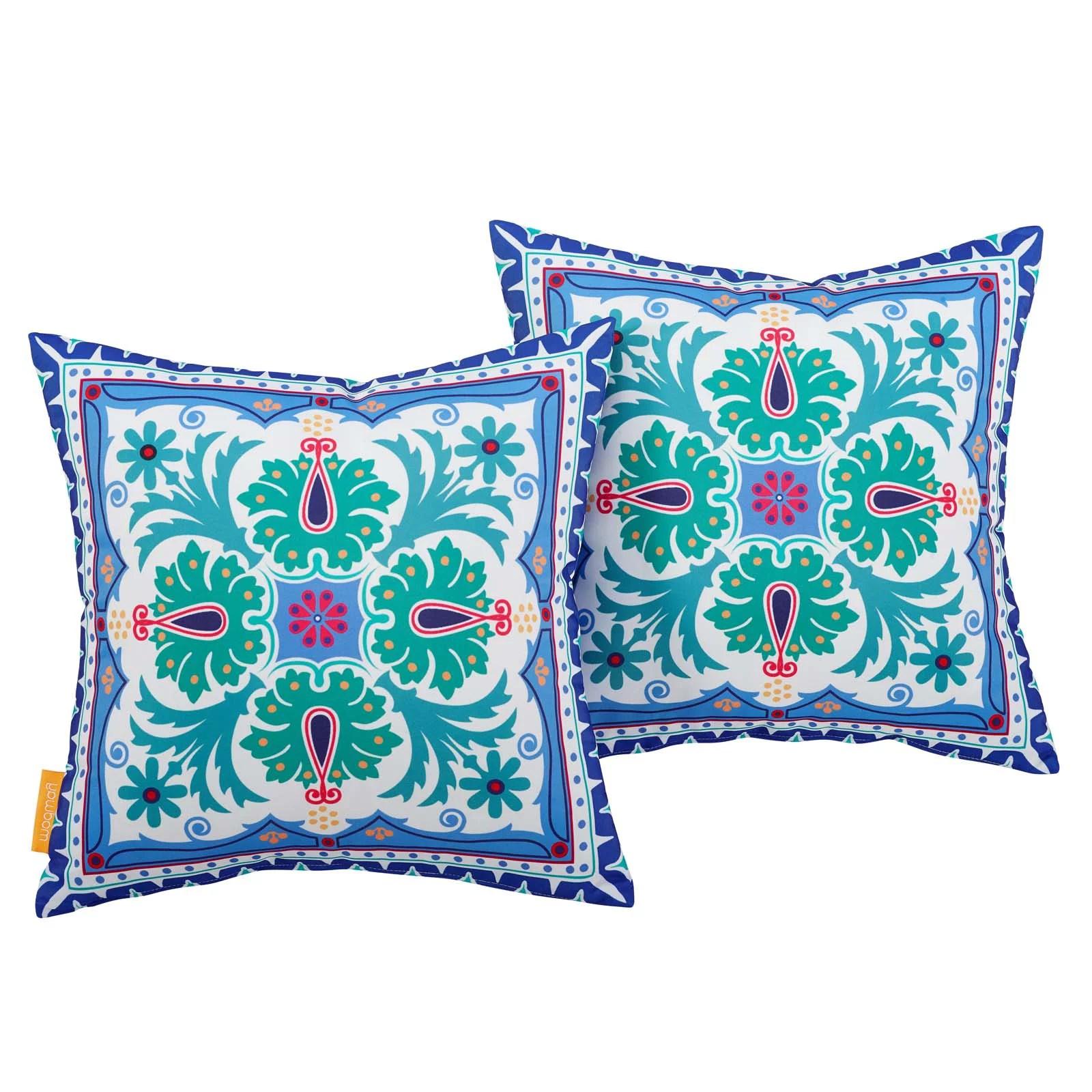 modern contemporary urban design outdoor patio balcony garden furniture pillow throw set of two fabric multi color