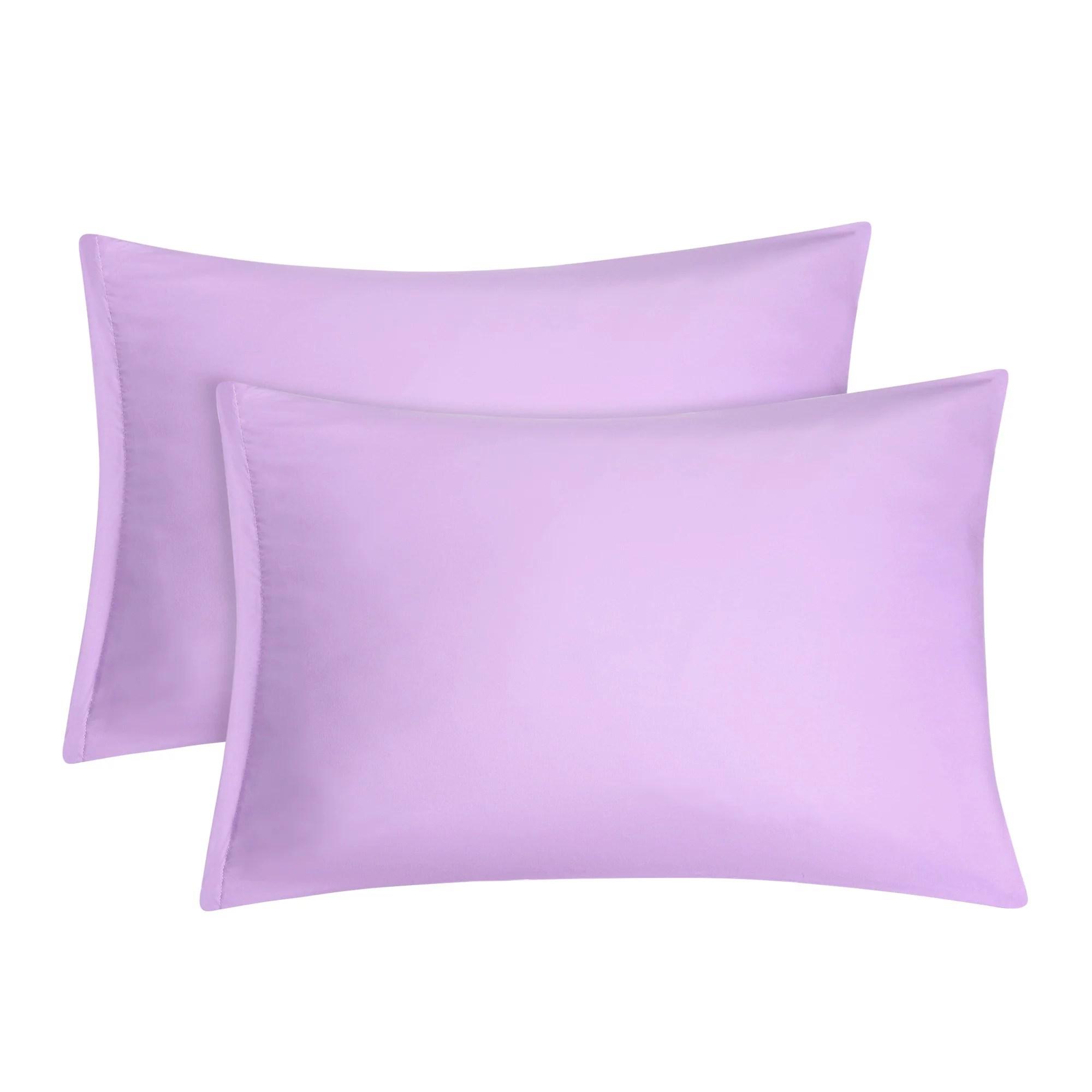 2 pack standard pillowcases soft 1800 microfiber pillow case with zipper closure violet bedding pillow covers walmart com