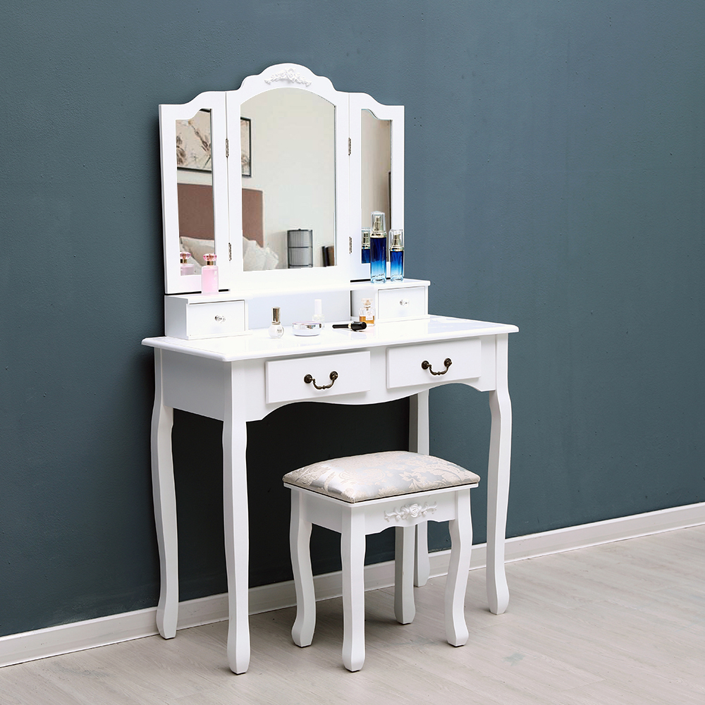makeup vanity table set vanity beauty station makeup table and stool with 3 mirrors and 4 organization drawers set y00443