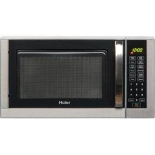 haier 0 9 cu ft microwave oven stainless steel trim