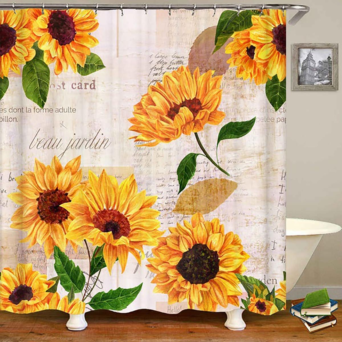 sunflower art print shower curtain non slip pedestal rug