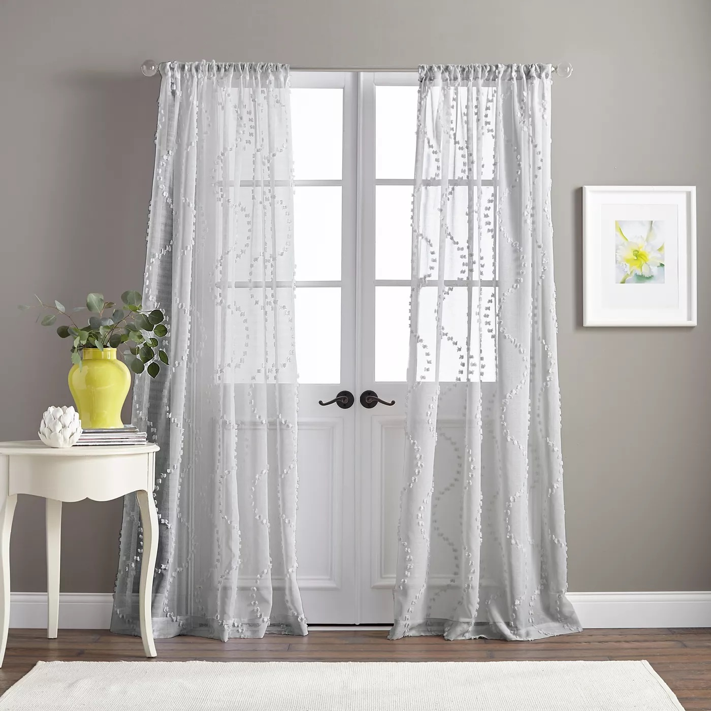 dixon wave poletop 50 x 95 inches curtain panel w gentle light filtering white walmart com