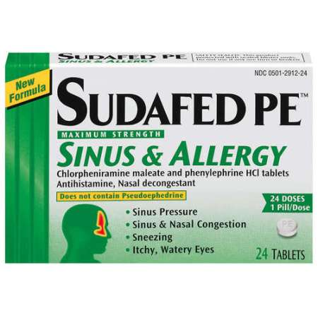 ... Pe Maximum Strength Tablets Sinus & Allergy 24 ct - Walmart.com