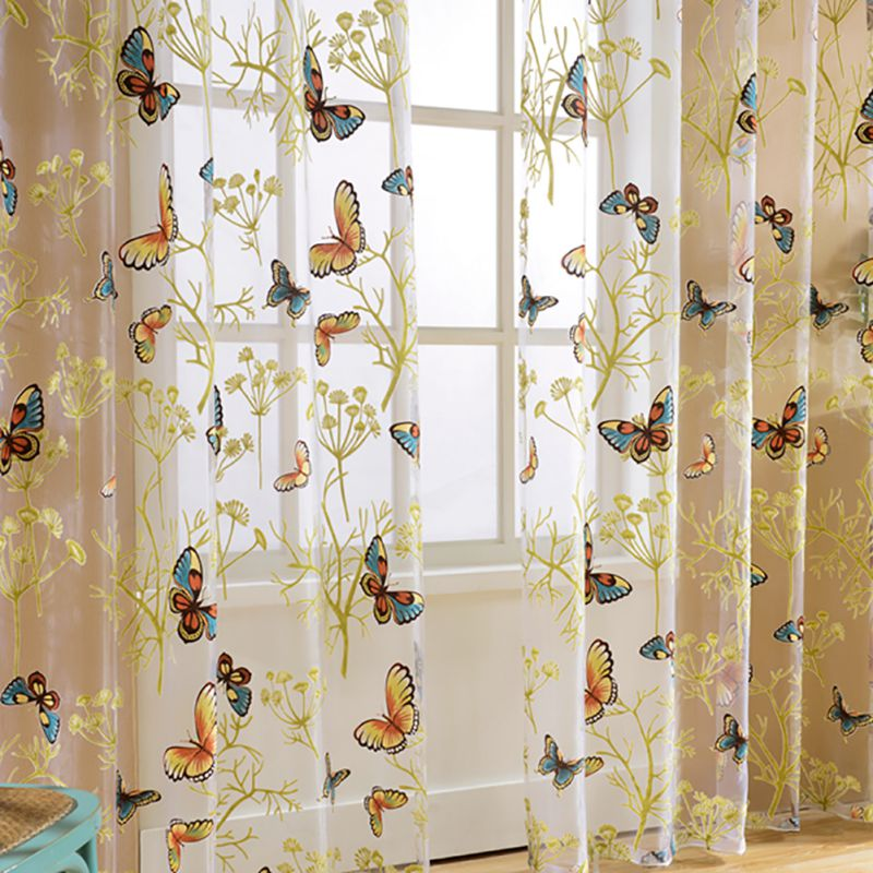 home window decor voile valance tulle floral butterfly sheer curtains walmart com