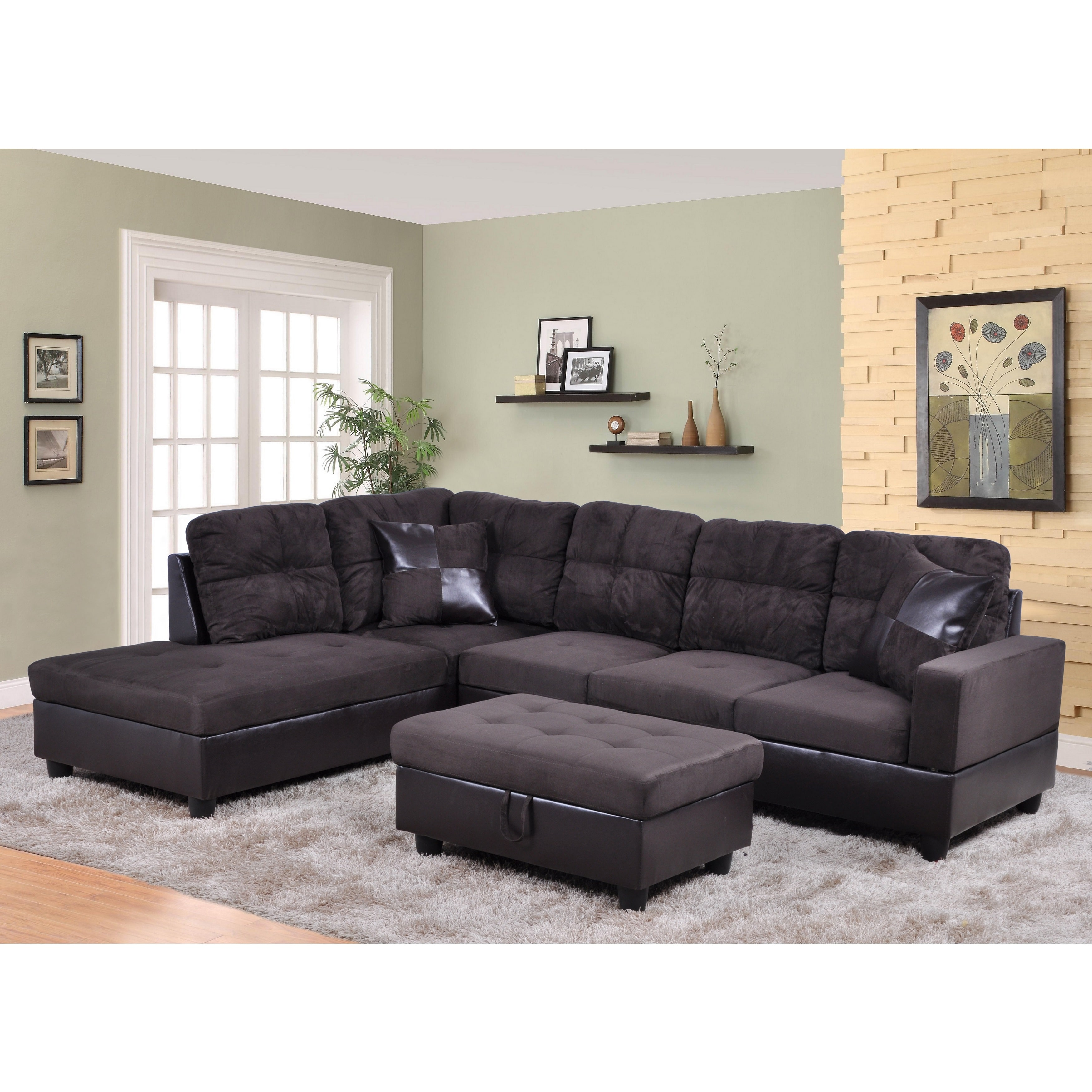 lifestyle furniture lf105a avellino left hand facing sectional sofa dark chocolate 35 x 103 5 x 74 5 in