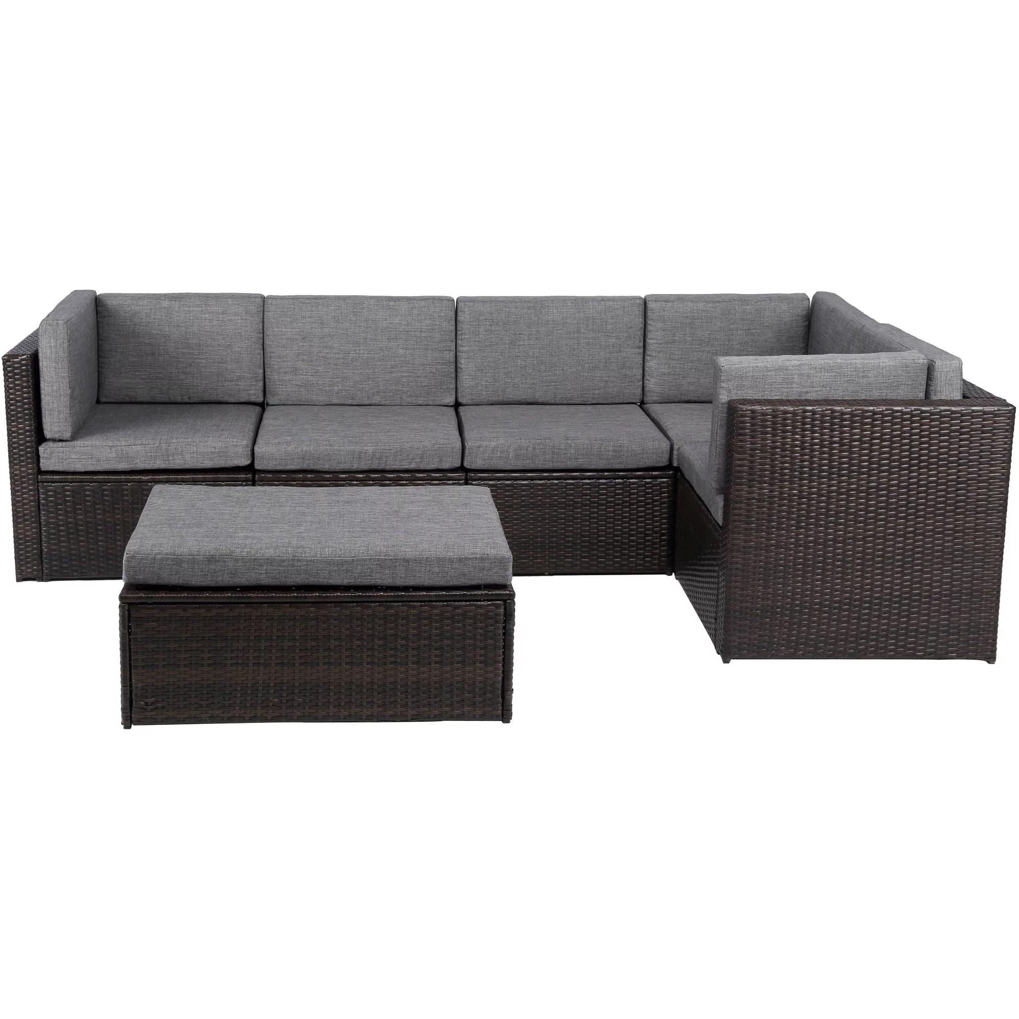 baner garden outdoor furniture complete patio pe wicker rattan garden corner sofa couch set with gray cushions