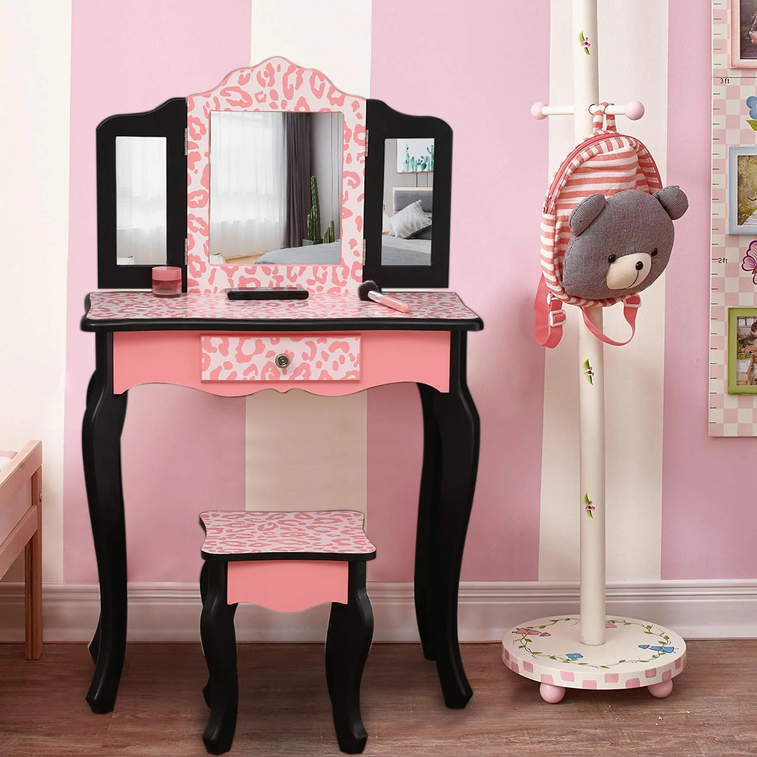 ktaxon kids wooden vanity table and stool set with 3 mirrors princess makeup dressing table children s furniture