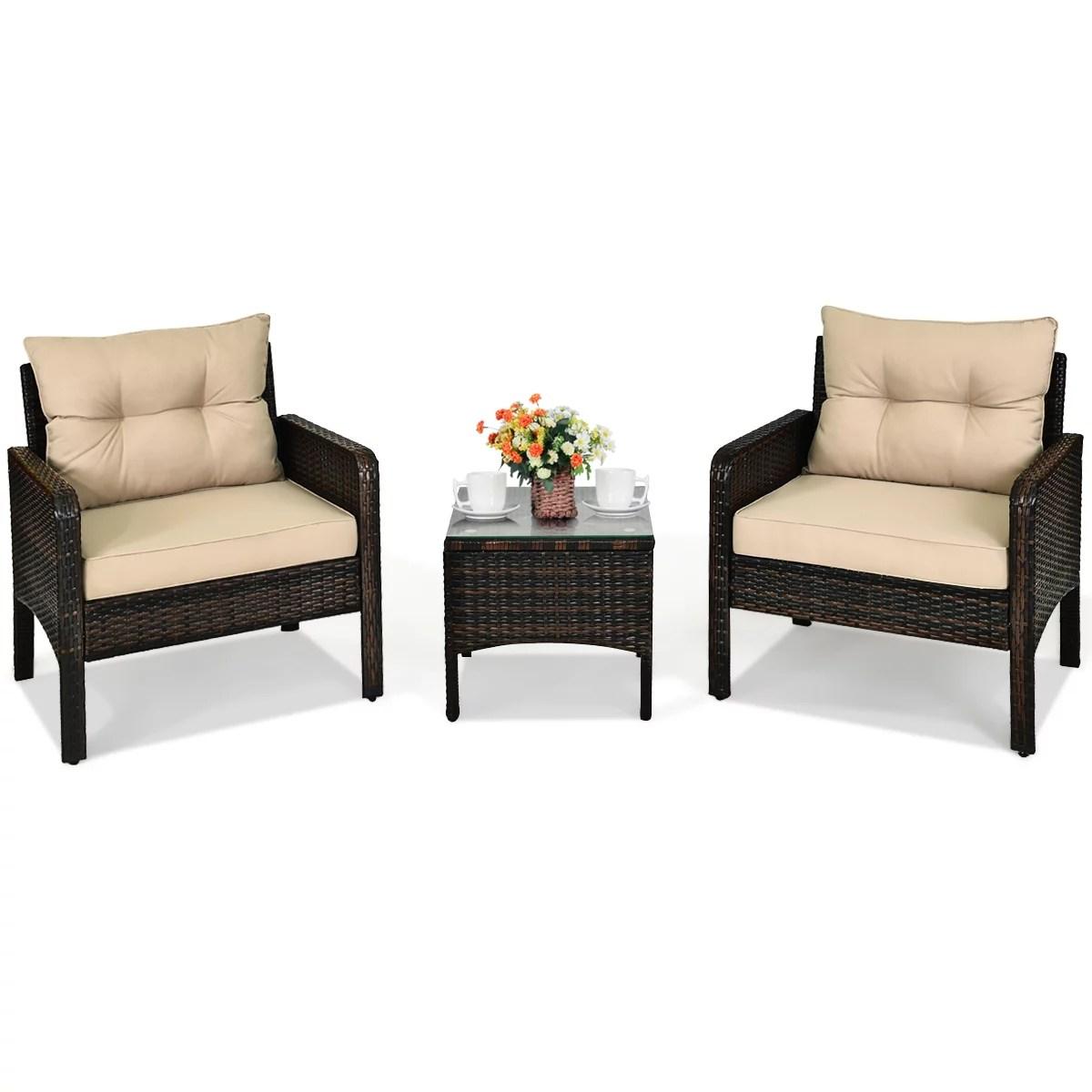 costway 3pcs outdoor rattan conversation set patio garden cushioned sofa chair turquoise