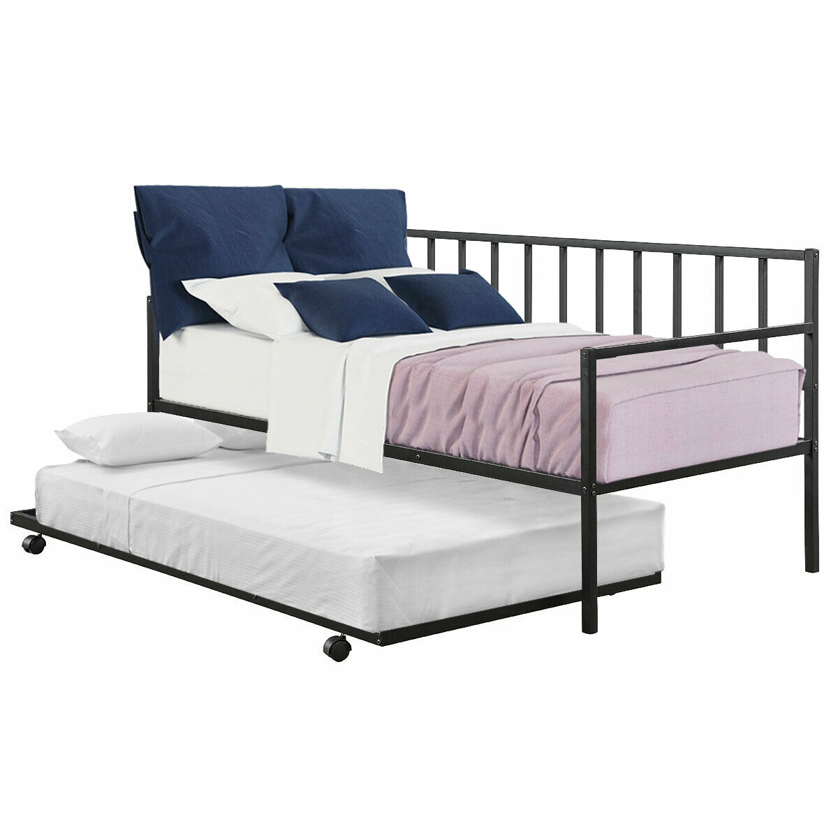 gymax twin trundle daybed w 4 casters mattress platform bed sofa