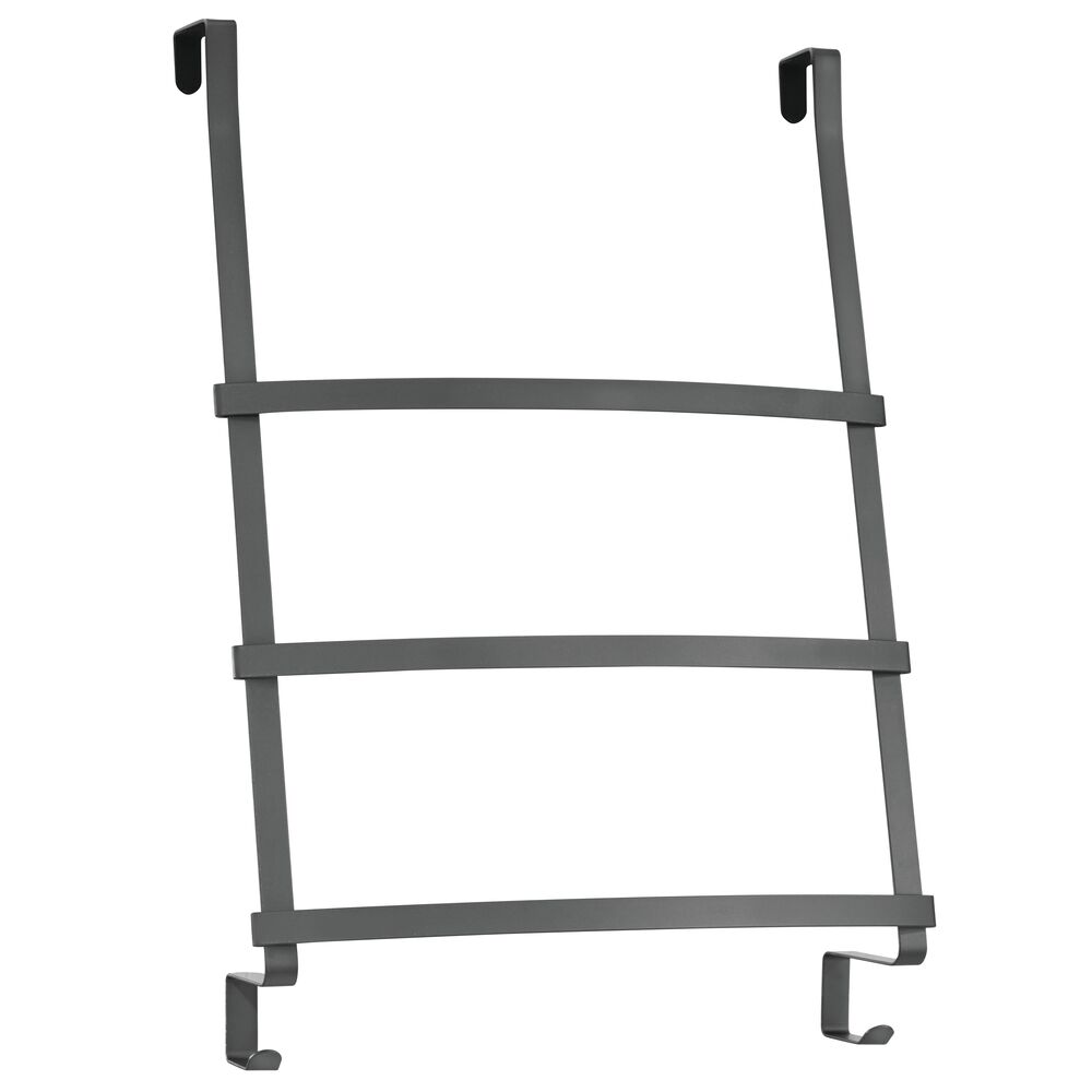 mdesign metal over shower door towel rack holder for bathroom 2 hooks