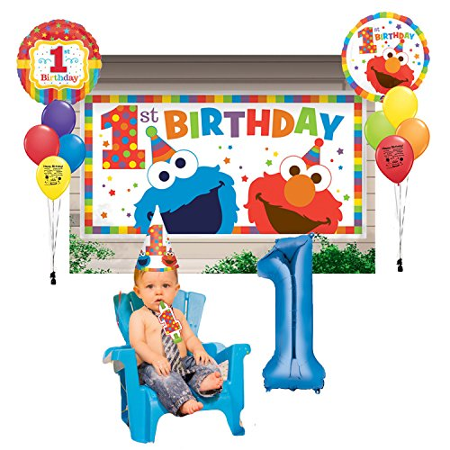 Elmo Party Supplies 1st Birthday Party Scene Setter Photo Balloon Decoration Kit Walmart Com Walmart Com