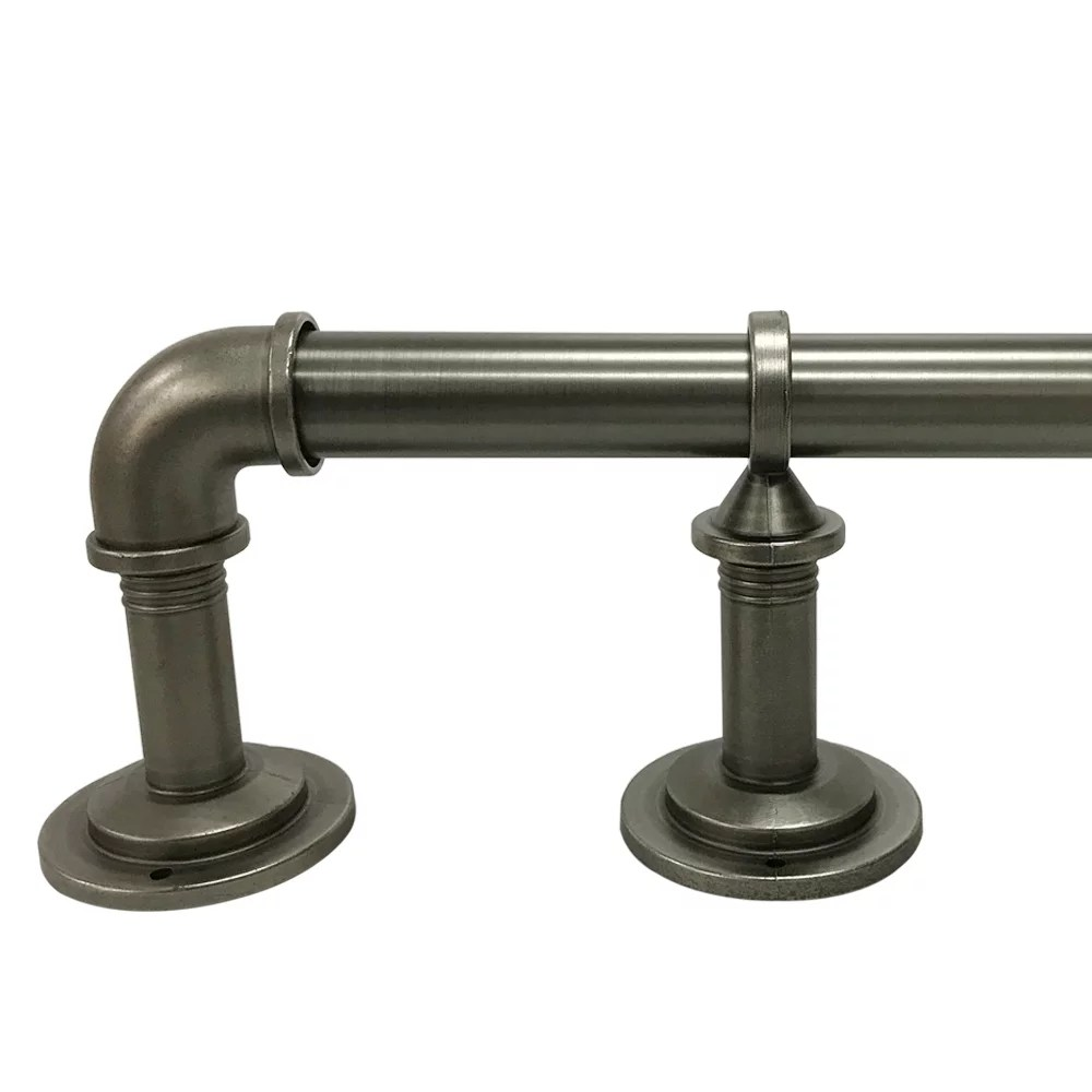 better homes gardens 40 120 industrial pipe wrap around single curtain rod set 1 diameter antique pewter finish