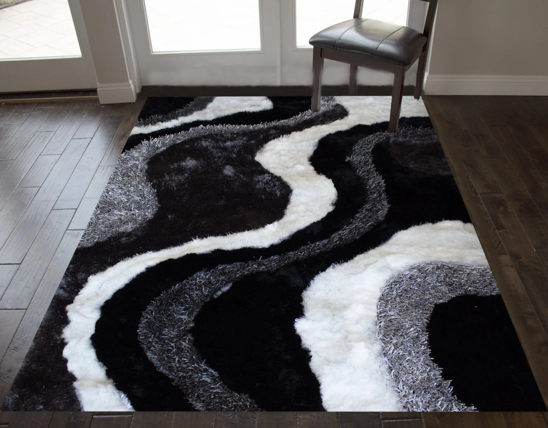 8x10 black white shag shaggy fuzzy fluffy furry soft modern contemporary decorative thick plush soft pile decorative living room bedroom area rug