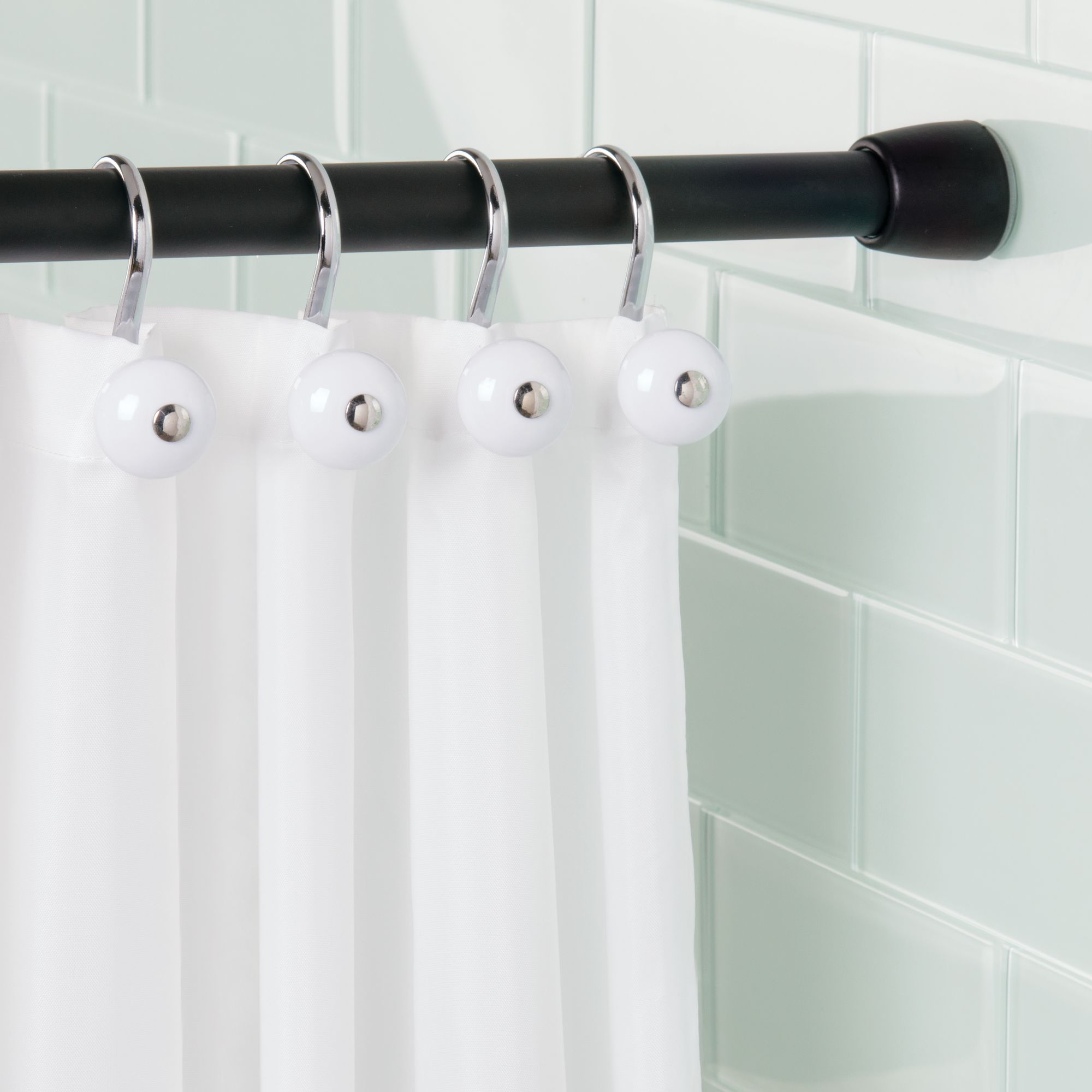 interdesign shower curtain tension rod matte black small 26 42