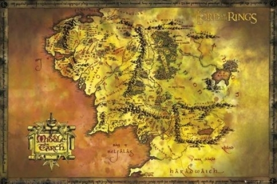 lord of the rings middle earth map poster print 36 x 24