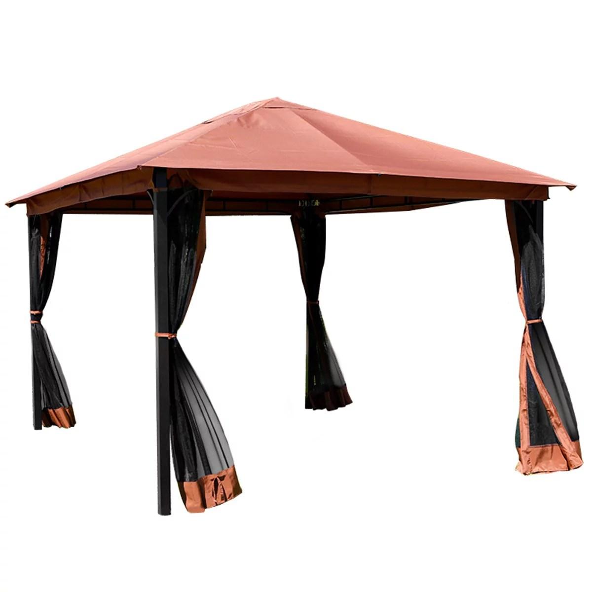 10 x 12 outdoor backyard regency patio canopy gazebo tent with netting