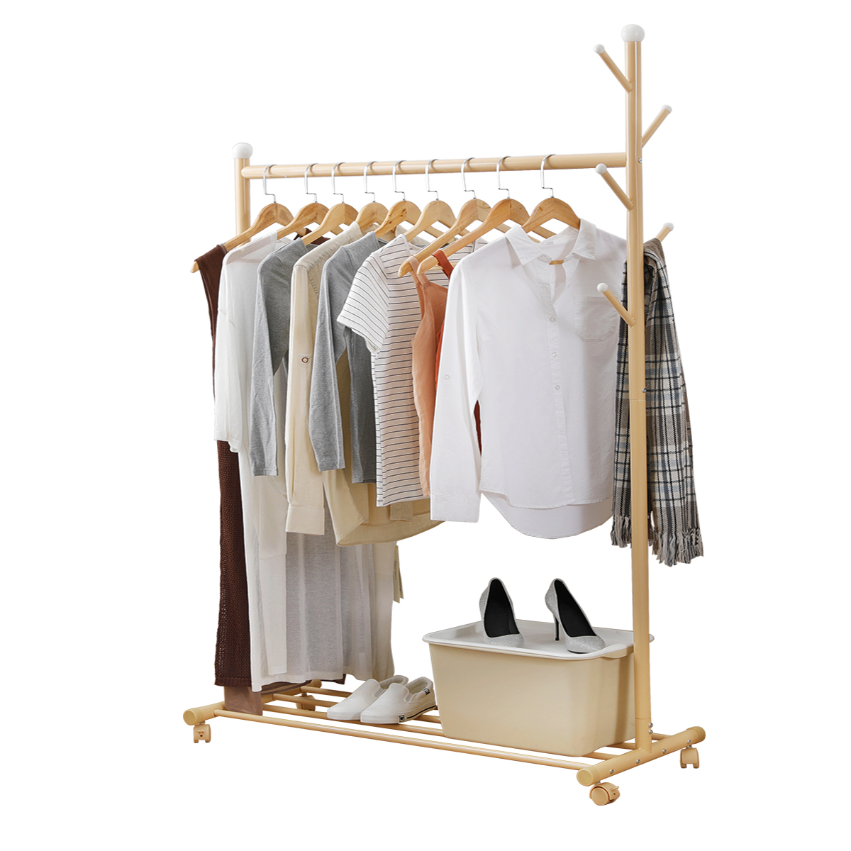 home organizer multifunctional clothing rack steel rod hanging clothes rolling garment rack organizer indoor hanger with bottom shelves integrated