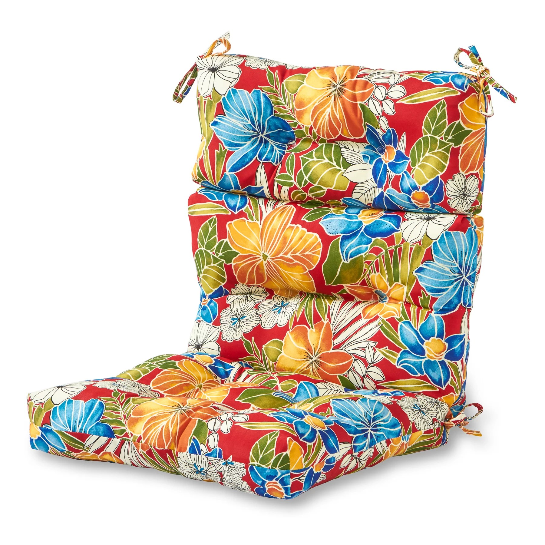 greendale home fashions aloha floral outdoor high back chair cushion