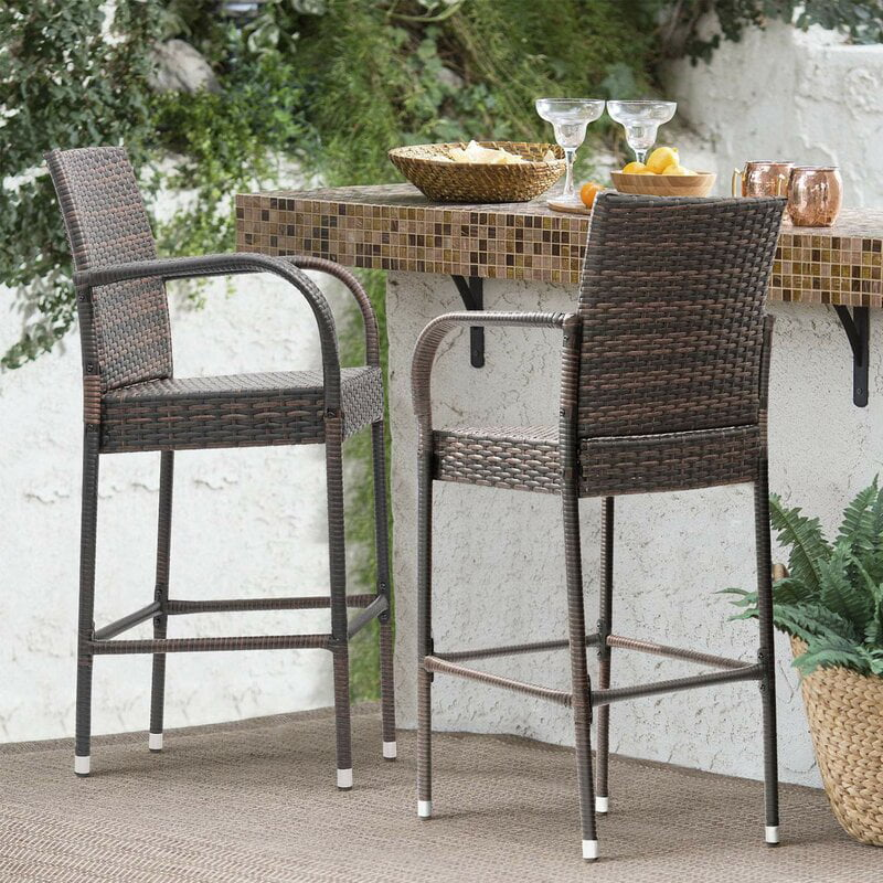 outdoor bar stools 24 inches high outdoor patio furniture wicker rattan bar stool with armrest and footrest patio bar chairs for garden pool lawn