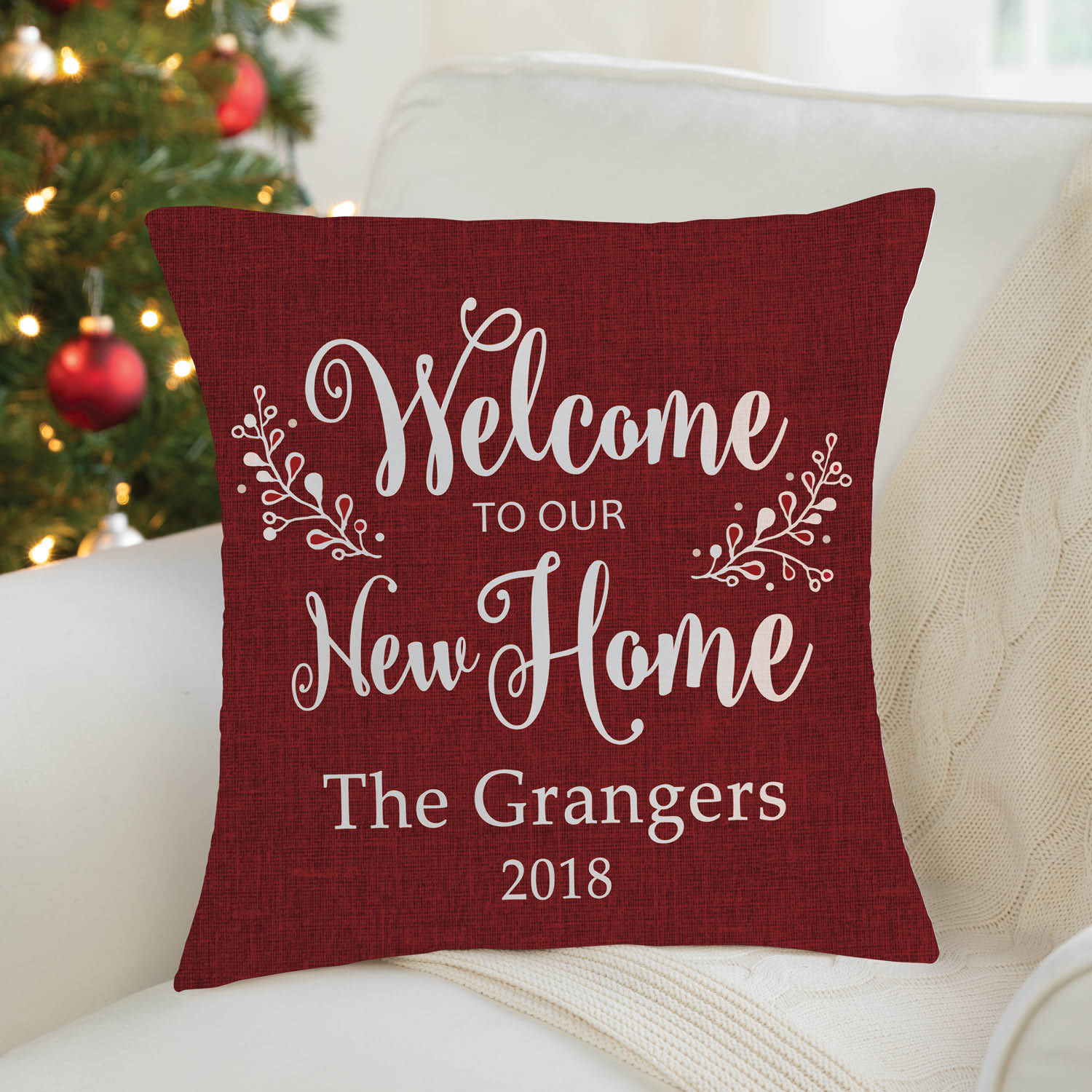 welcome to our new home personalized throw pillow