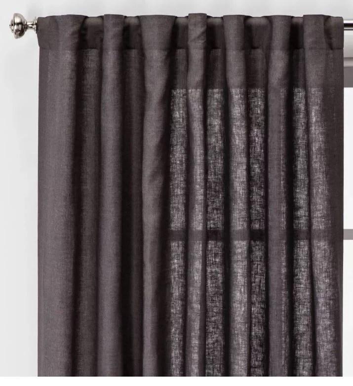 threshold linen light filtering curtain dark gray 95 in