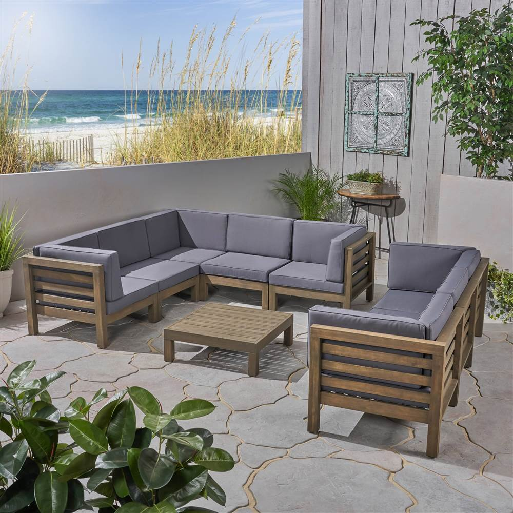 9 pc outdoor sectional sofa set with coffee table in gray