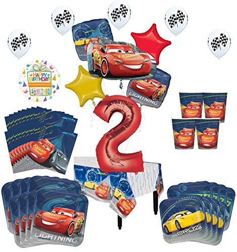 Disney Cars 2nd Birthday Party Supplies 16 Guest Kit And Balloon Bouquet Decorations 94 Pc Walmart Com Walmart Com