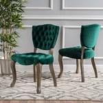 Noble House Sofia Tufted Dark Green Velvet Fabric Dining Chairs Set Of 2 Walmart Com Walmart Com