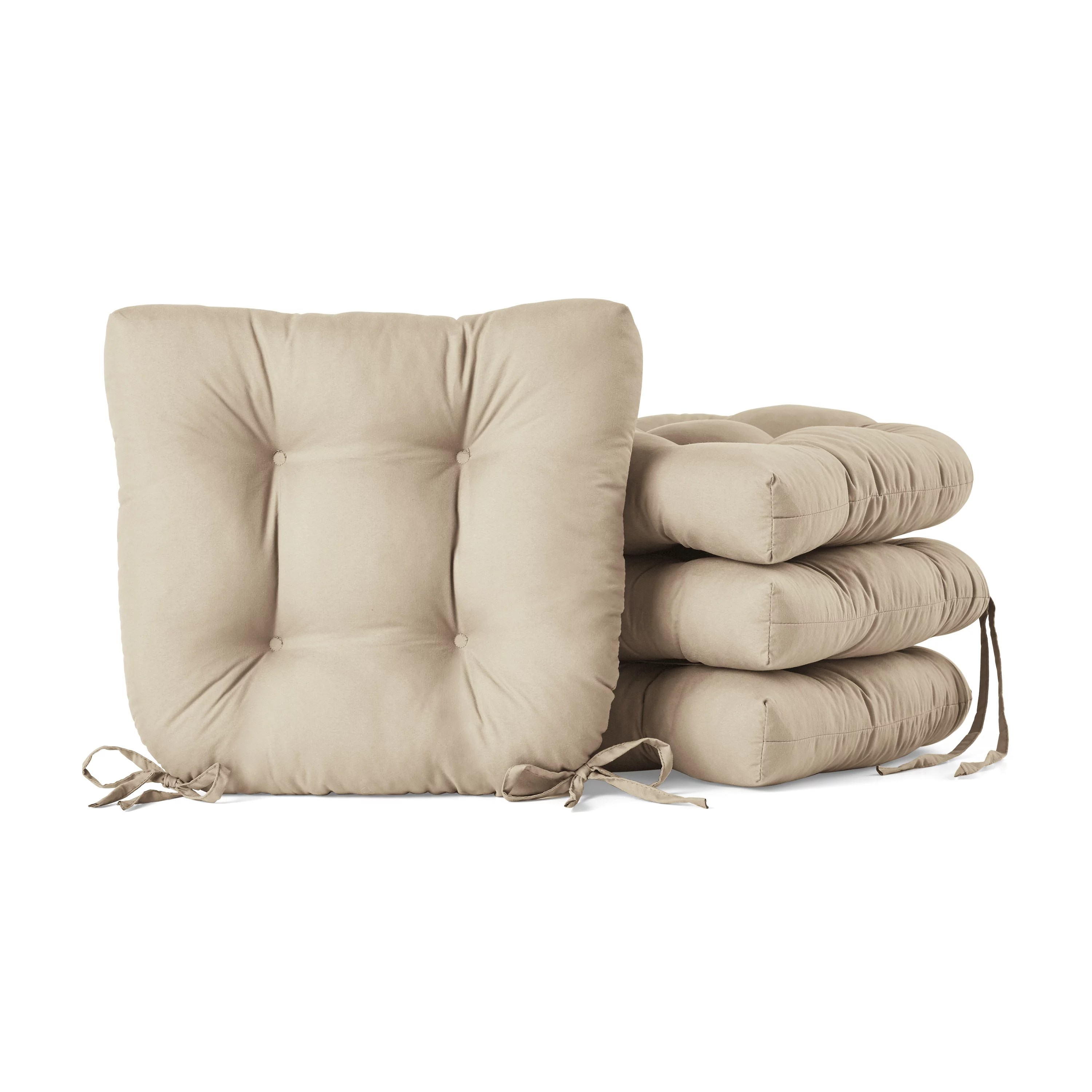 mainstays faux suede 14 5 chair cushion with ties 4 pack brownstone