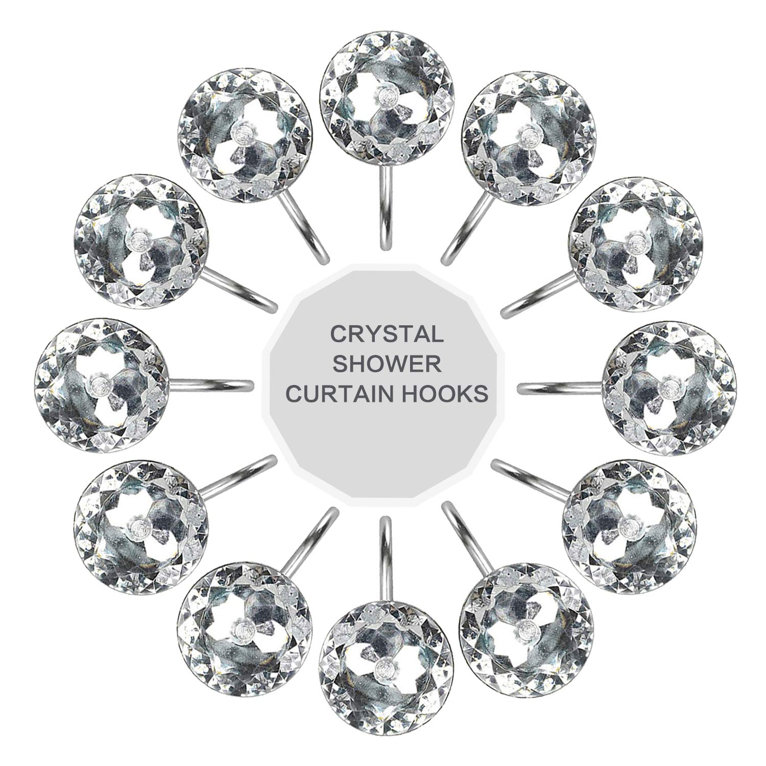 Walfront Shower Curtain Hooks 12pcs Clear Decorative