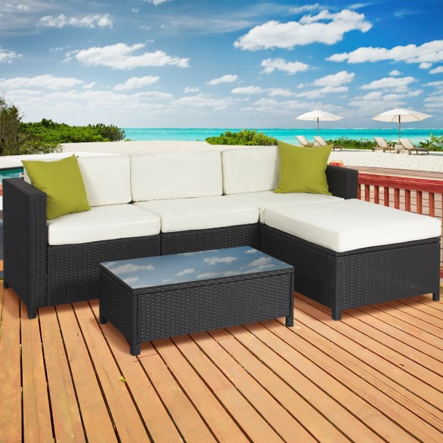 best choice products 5-piece wicker patio sectional set w/ beige