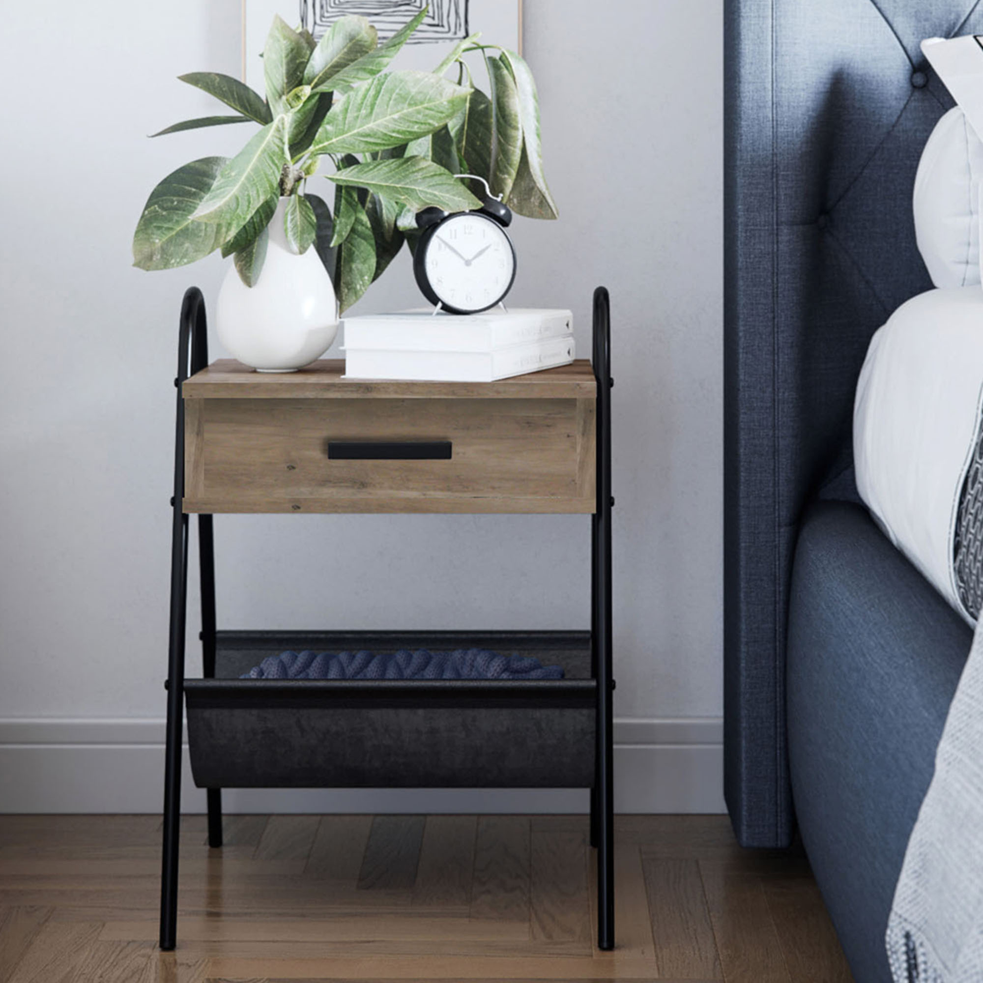 nathan james hugo accent table or nightstand rustic brown oak wood table with drawer black metal frame leather hammock