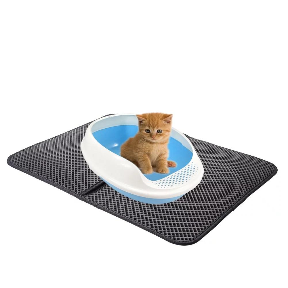 tapis de litiere impermeable a double couche pour chat pour animaux de compagnie impermeable a haute elasticite eva