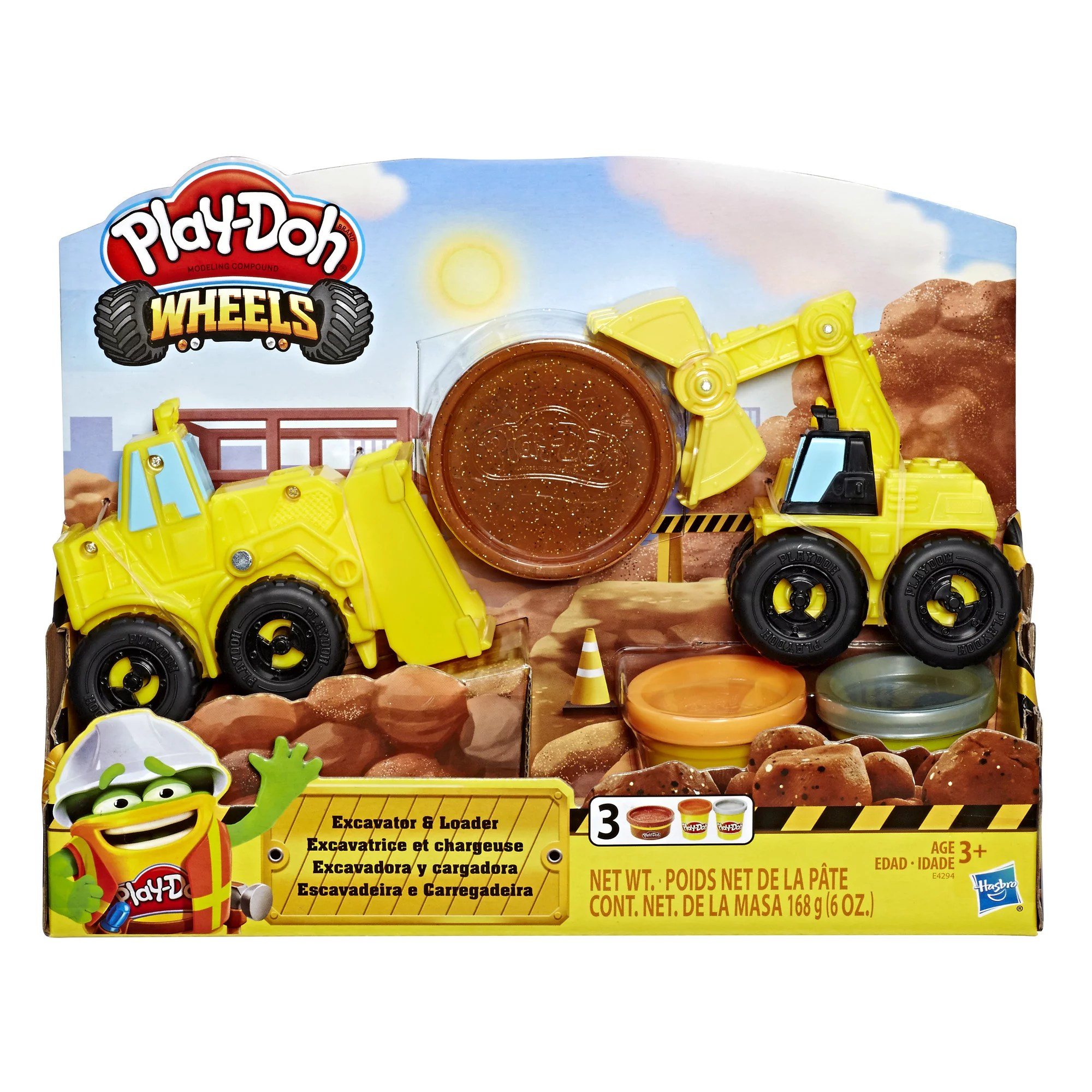 Play Doh Wheels Excavator And Loader Toy Construction Trucks Walmart Com