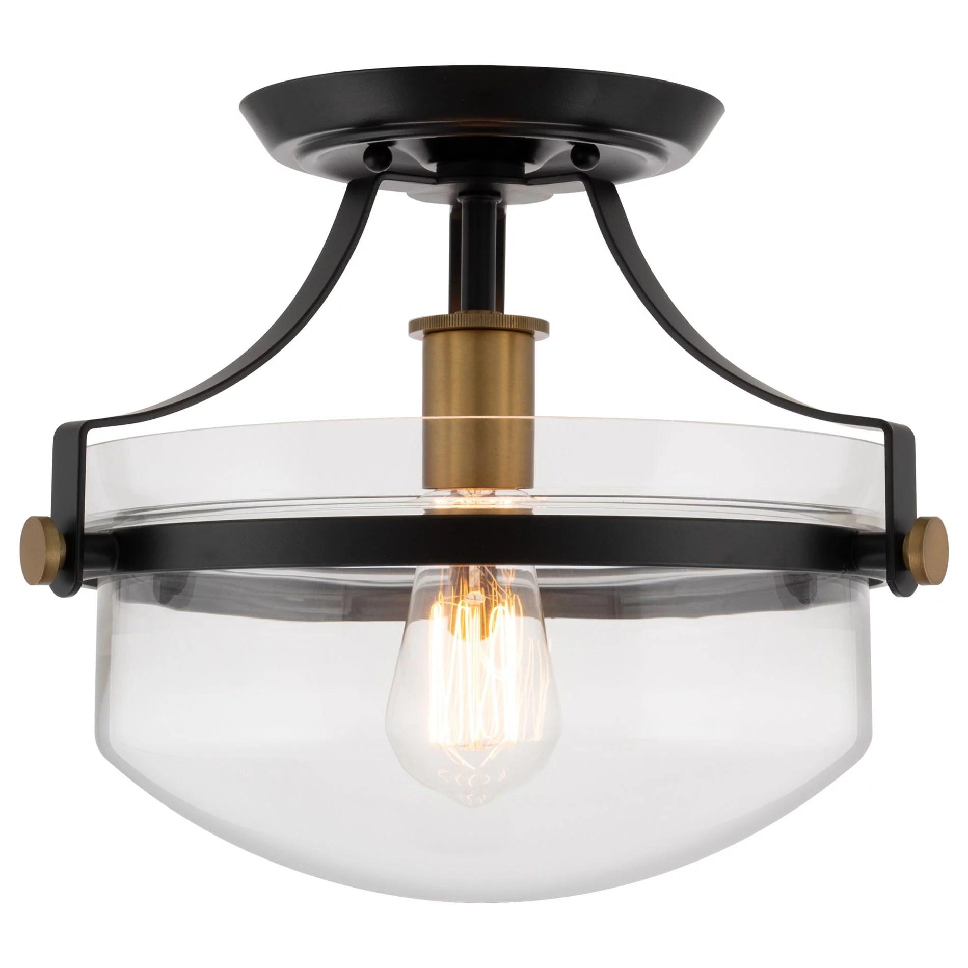 kira home zurich 12 rustic farmhouse semi flush mount ceiling light glass shade warm brass accents black finish walmart com