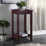 Wood Tall End Coffee Table Nightstand Sofa Side Table Console Storage Shelf