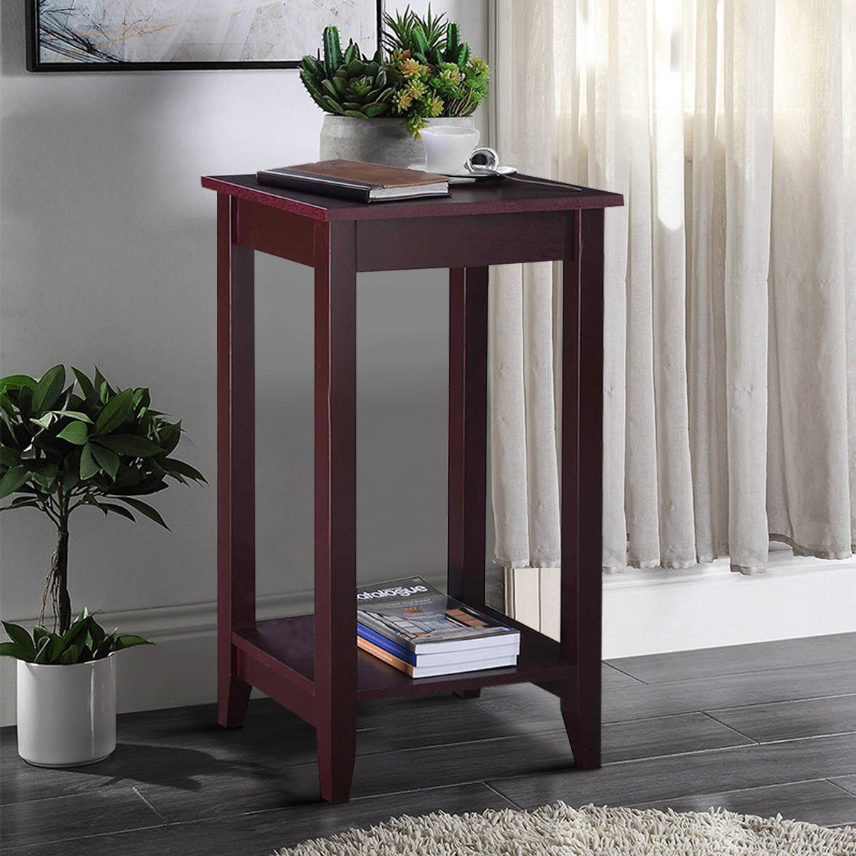 Wood Tall End Coffee Table Nightstand Sofa Side Table Console Storage Shelf Walmart Canada