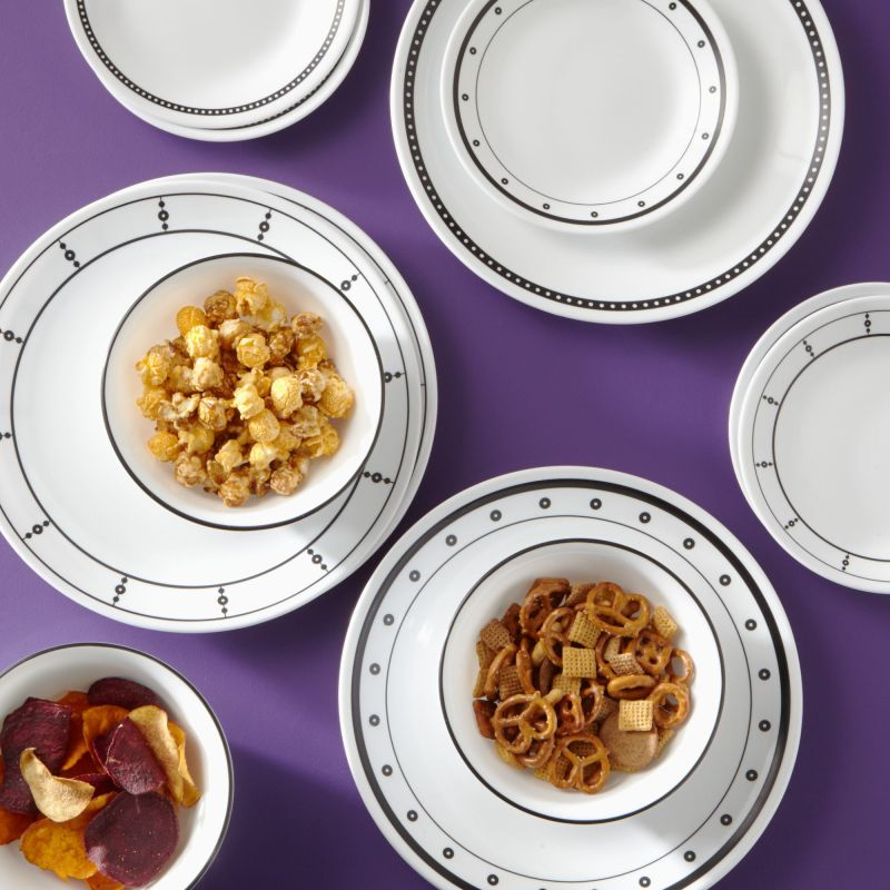 Corelle Classic 16-Piece Black & White Mix and Match Dinnerware Set