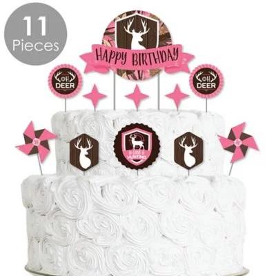 Pink Gone Hunting Deer Hunting Girl Camo Birthday Party Cake Decorating Kit Happy Birthday Cake Topper Set 11 Pieces Walmart Com Walmart Com