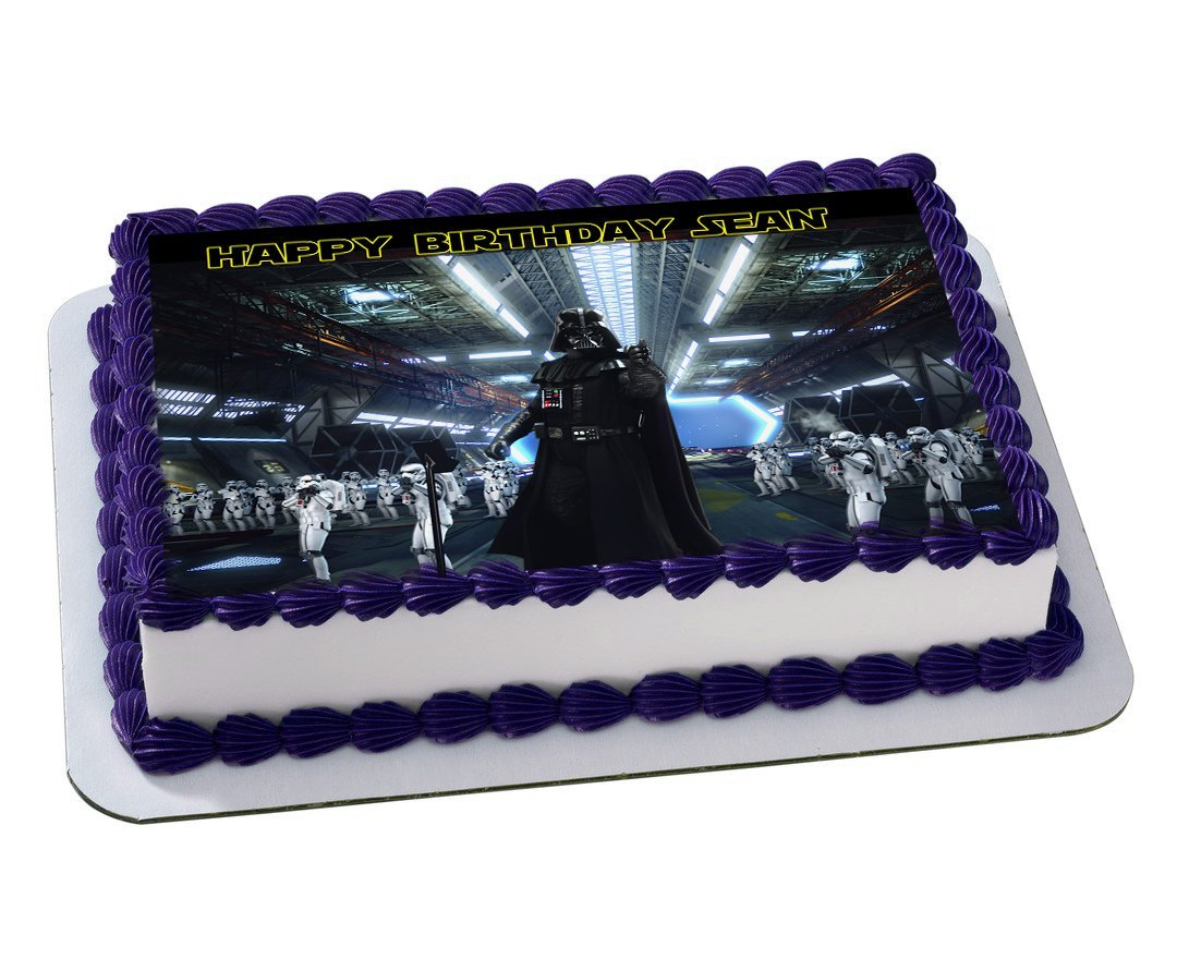 Darth Vader Star Wars Quarter Sheet Edible Photo Birthday Cake Topper Personalized 1 4 Sheet Nbsp Walmart Com Walmart Com